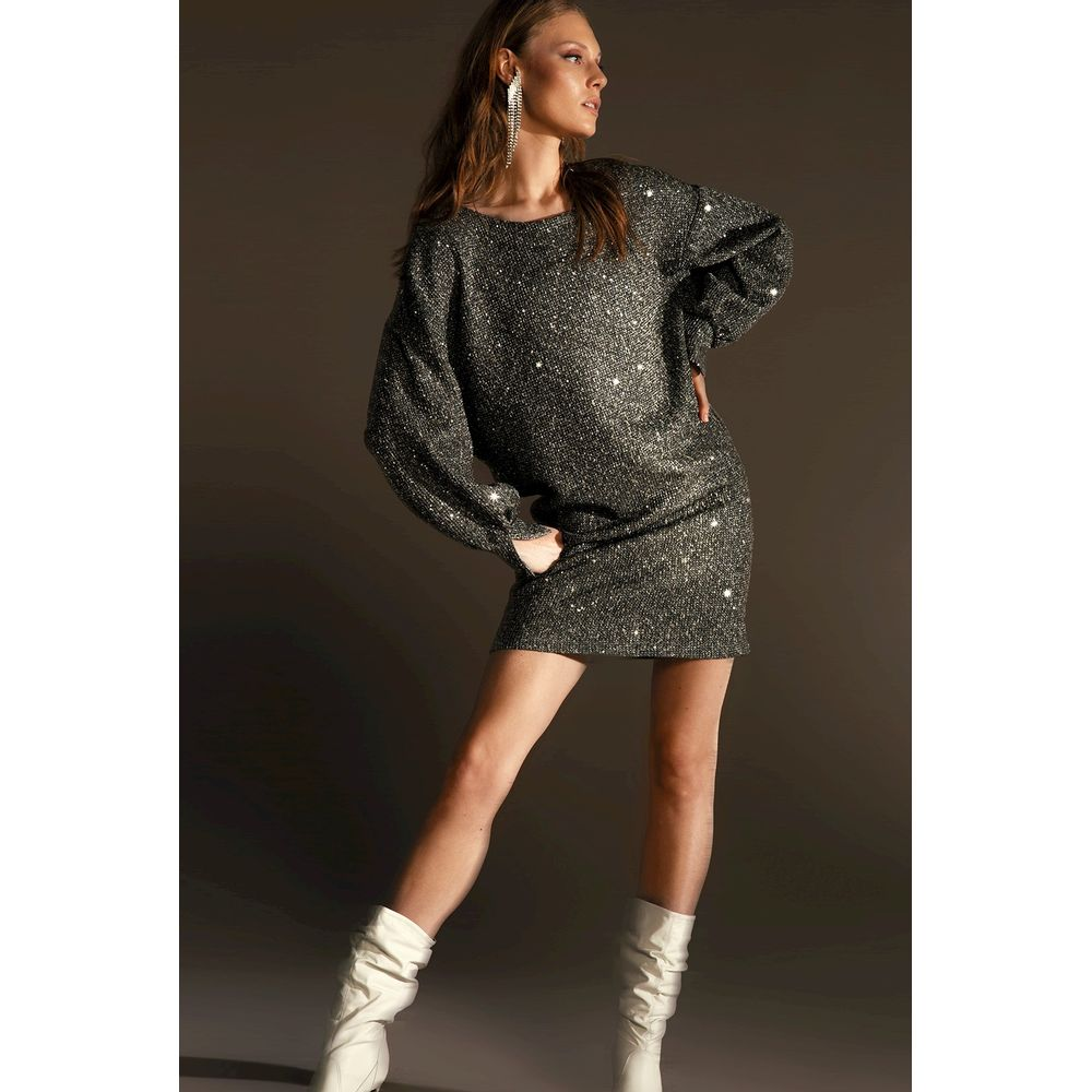 Vestido-Moletom-Paete-Silver