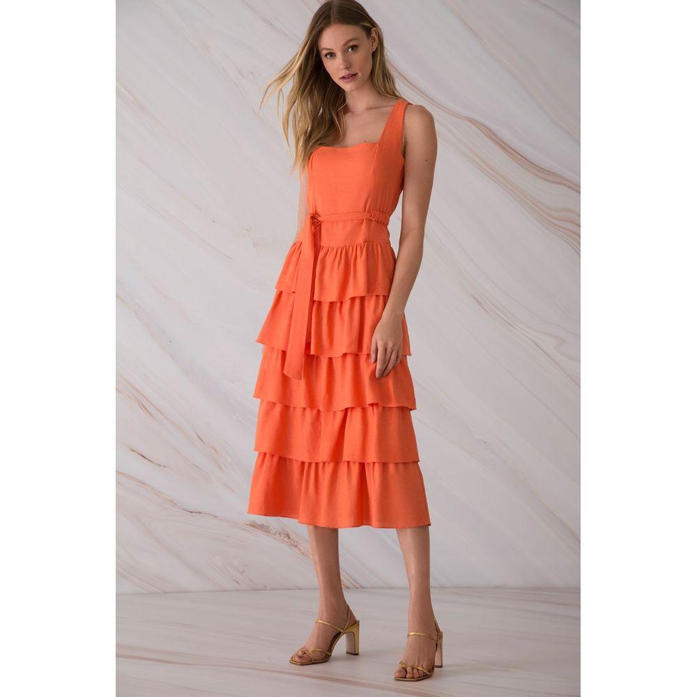 Vestido-Linho-Babados-Pessego