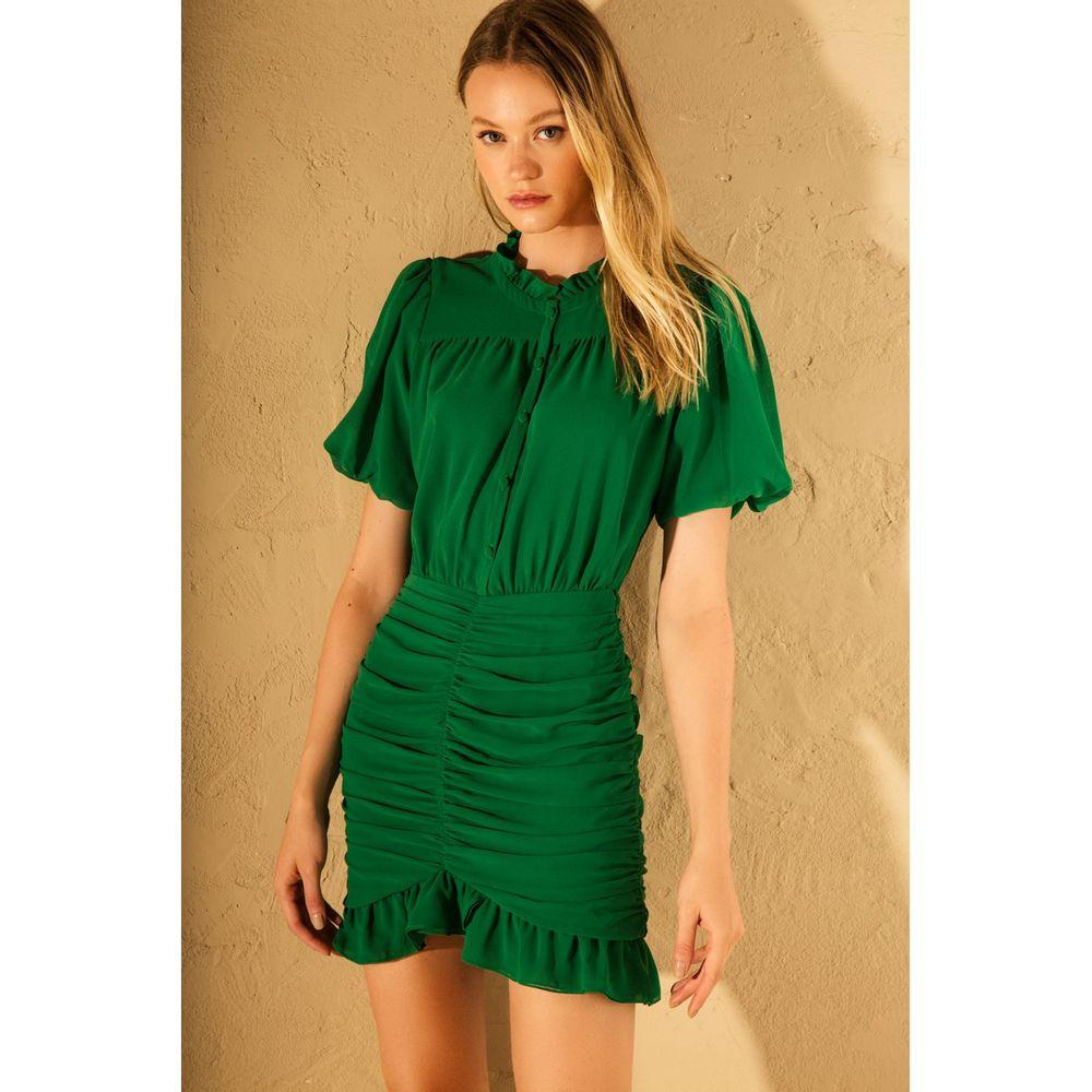 Vestido-Curto-Franzido-Verde