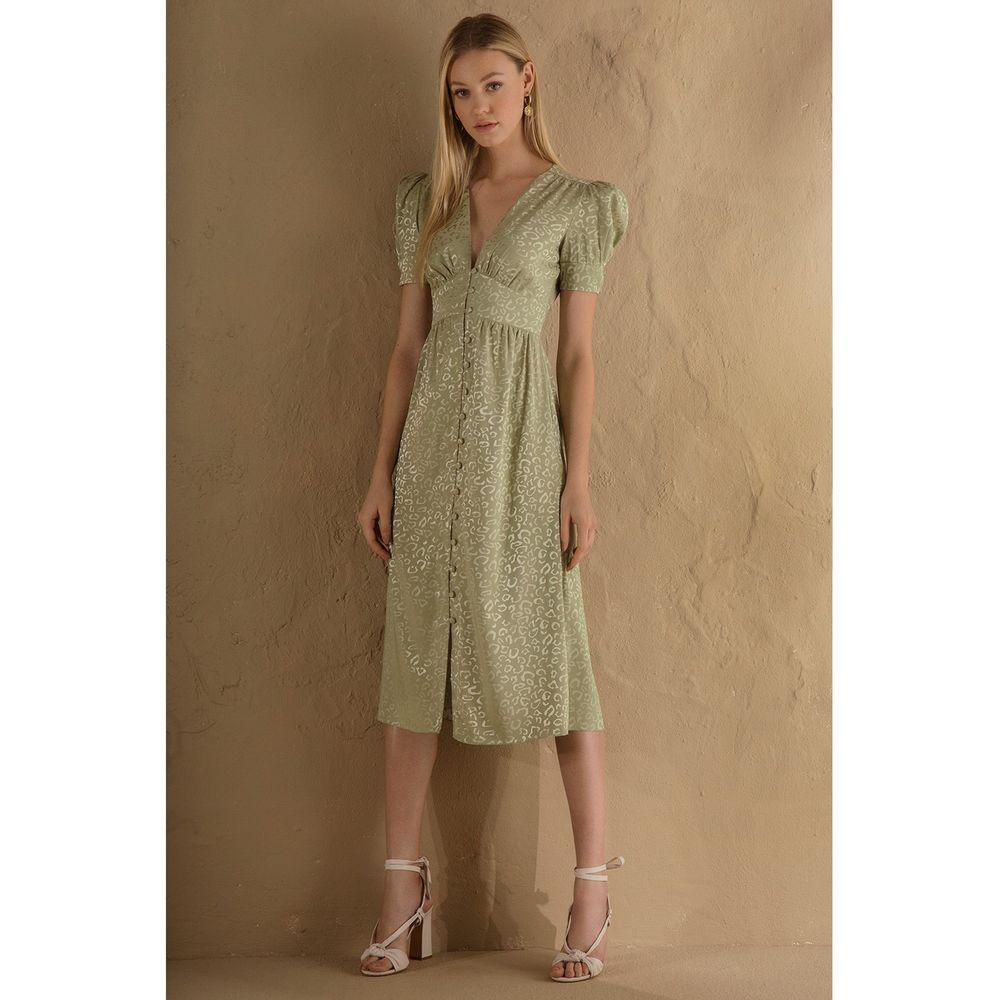 Vestido-Midi-Faconne-Verde