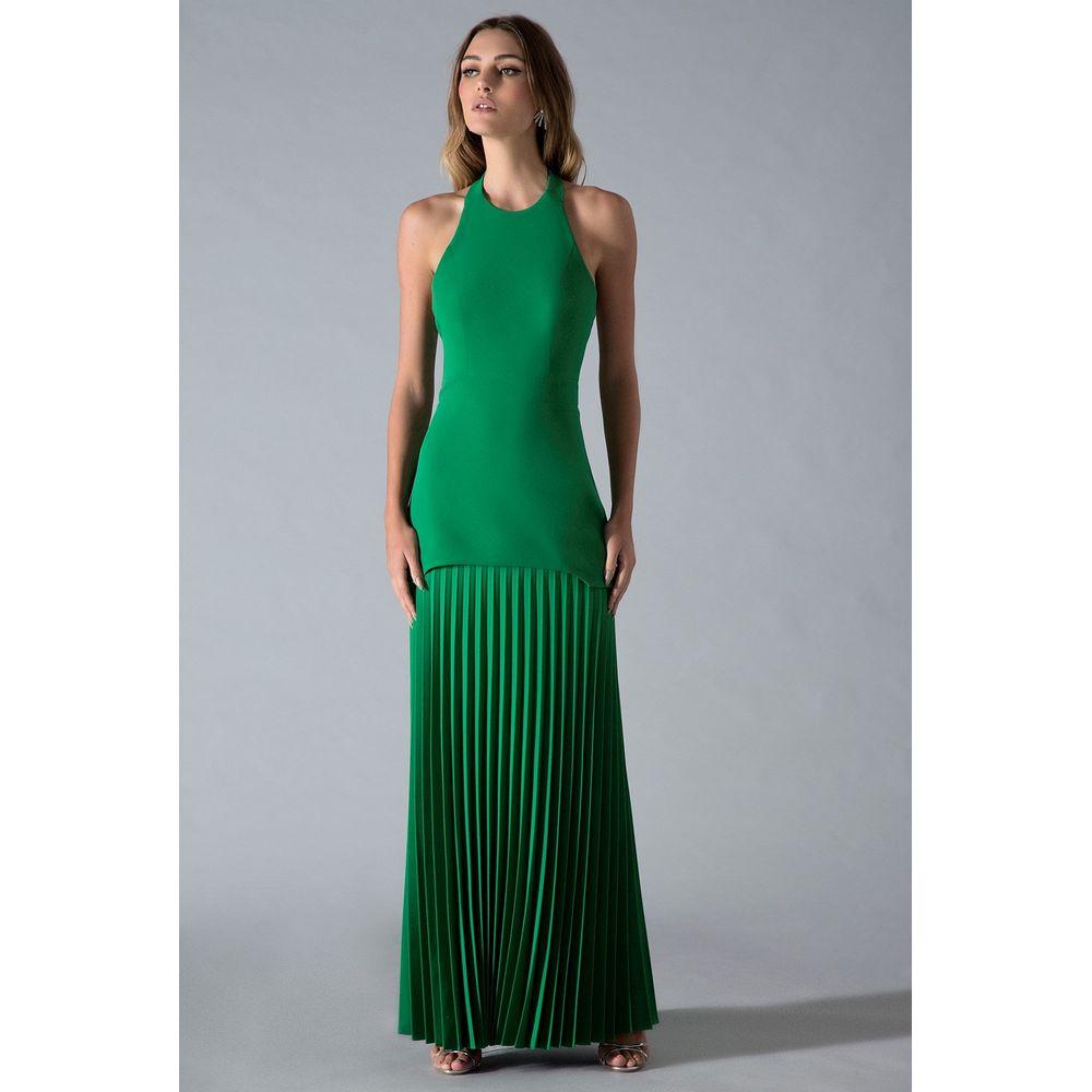 Vestido-Longo-Plissado-Verde