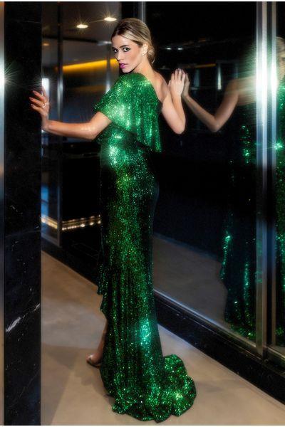 Vestido-Babados-Paete-Verde