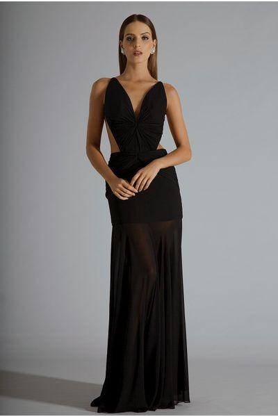 Vestido-Seda-Recorte-Preto