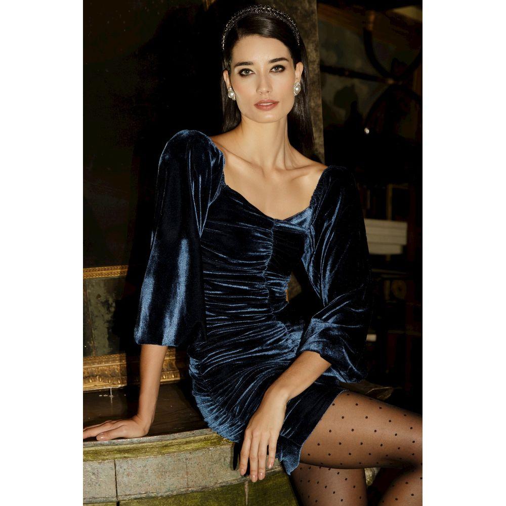 Vestido-Veludo-Drapeado-Azul