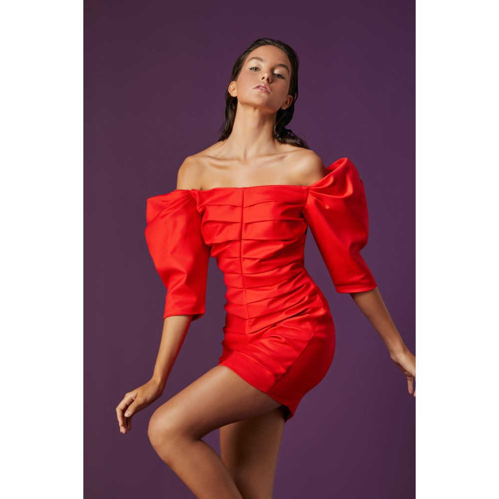 Vestido-Curto-Pregas-Vermelho