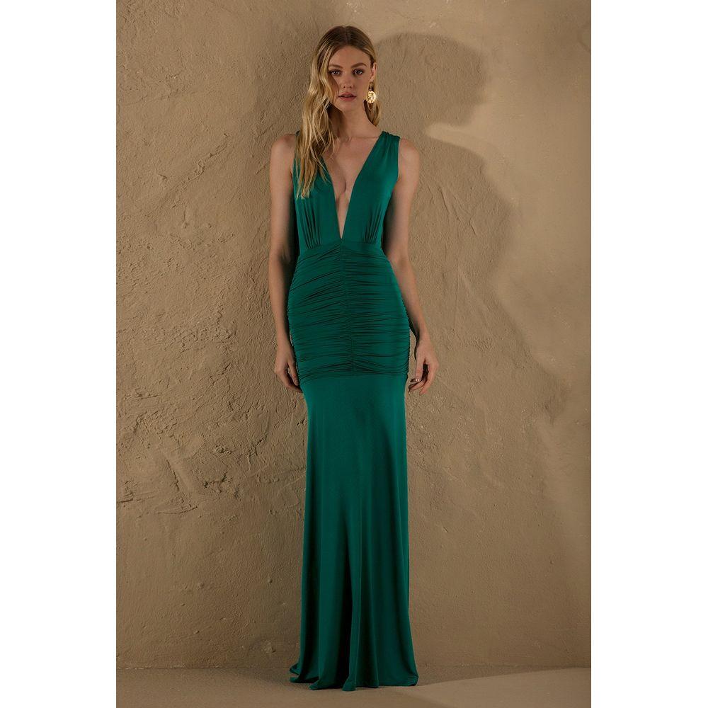 Vestido-Longo-Drapeado-Verde