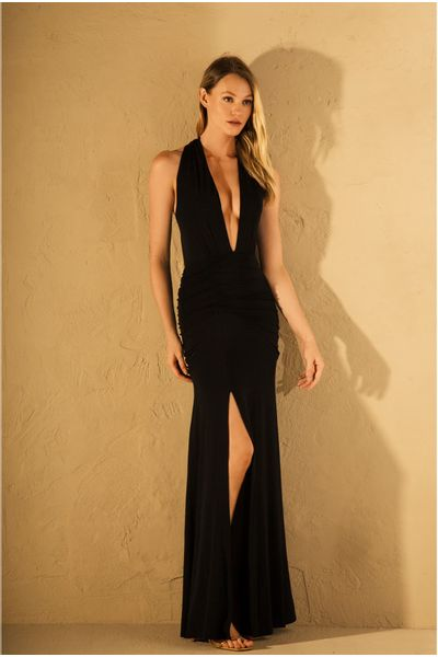 Vestido-Longo-Decote-Preto