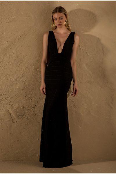 Vestido-Longo-Bandagem-Preto