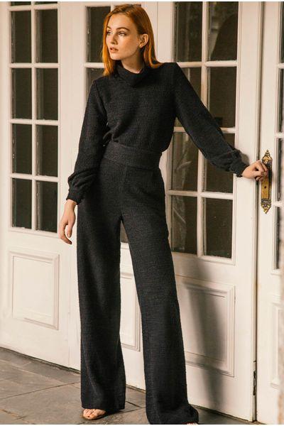Calca-Pantalona-Textura-Preta
