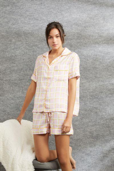 Conjunto-Pijama-Curto-Xadrez