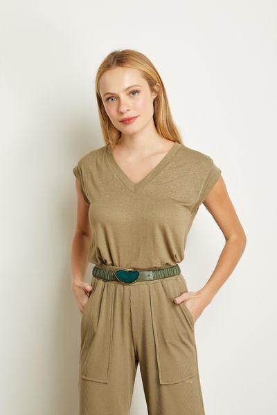 T-shirt-Decote-Verde-Militar