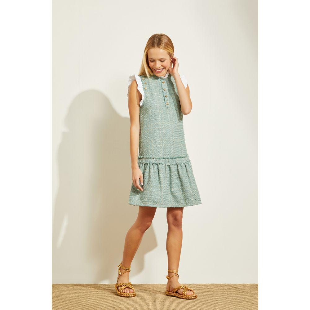 Vestido-Curto-Tweed-Verde