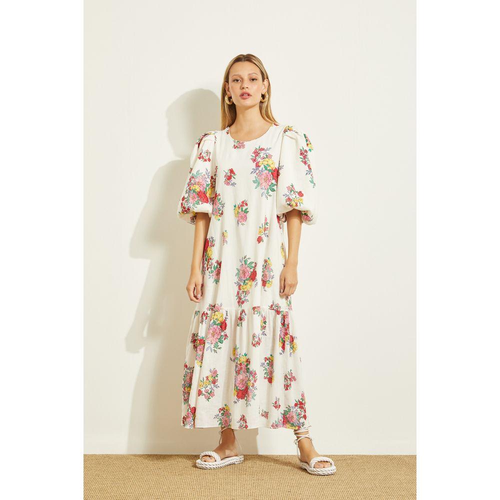 Vestido-Midi-Puff-Floral