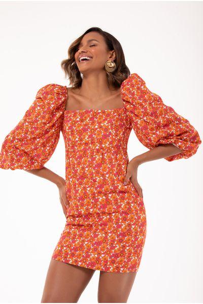 Vestido-Curto-Floral-Laranja