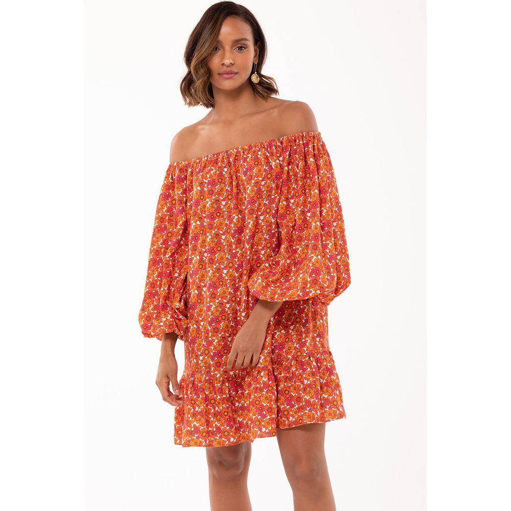 Vestido-Linho-Floral-Laranja