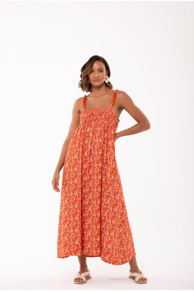 Vestido-Midi-Floral-Laranja