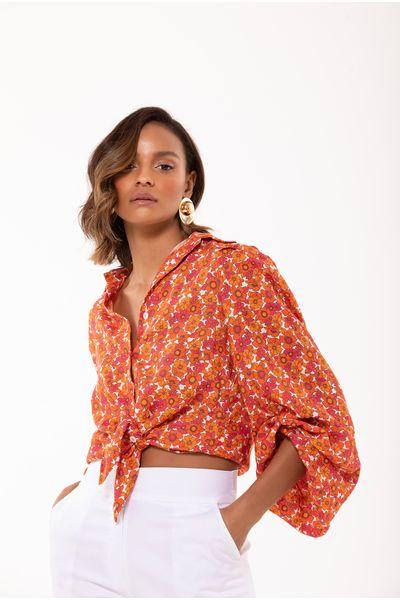 Camisa-Floral-Laranja