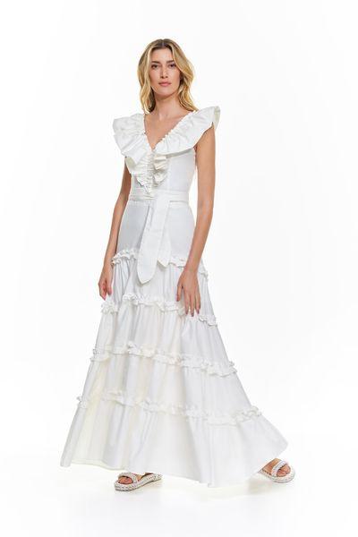 Vestido-Longo-Tricoline-Babados