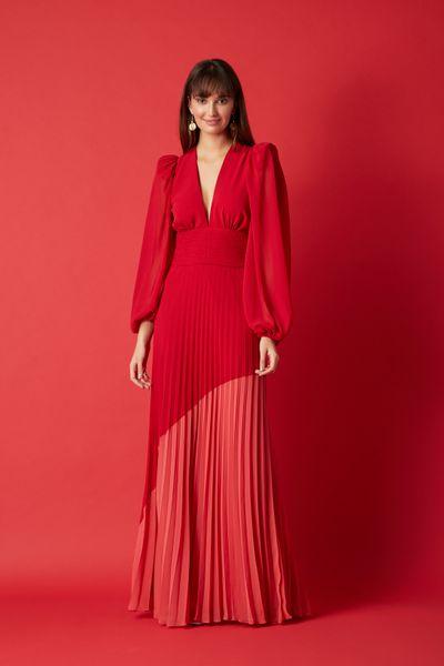 Vestido-Longo-Plissado-Vermelho