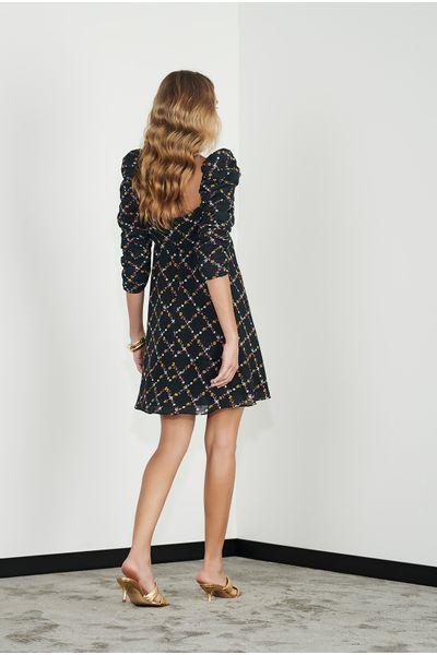 Vestido-Curto-Xadrez-Floral