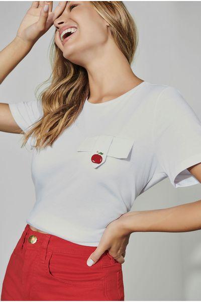 T-shirt-Lapela-Maca-Branca