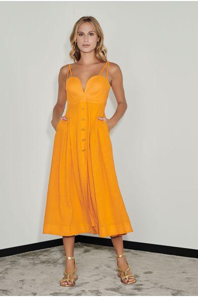 Vestido-Linho-Midi-Laranja