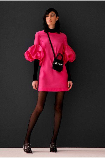 Vestido-Manga-Puff-Pink