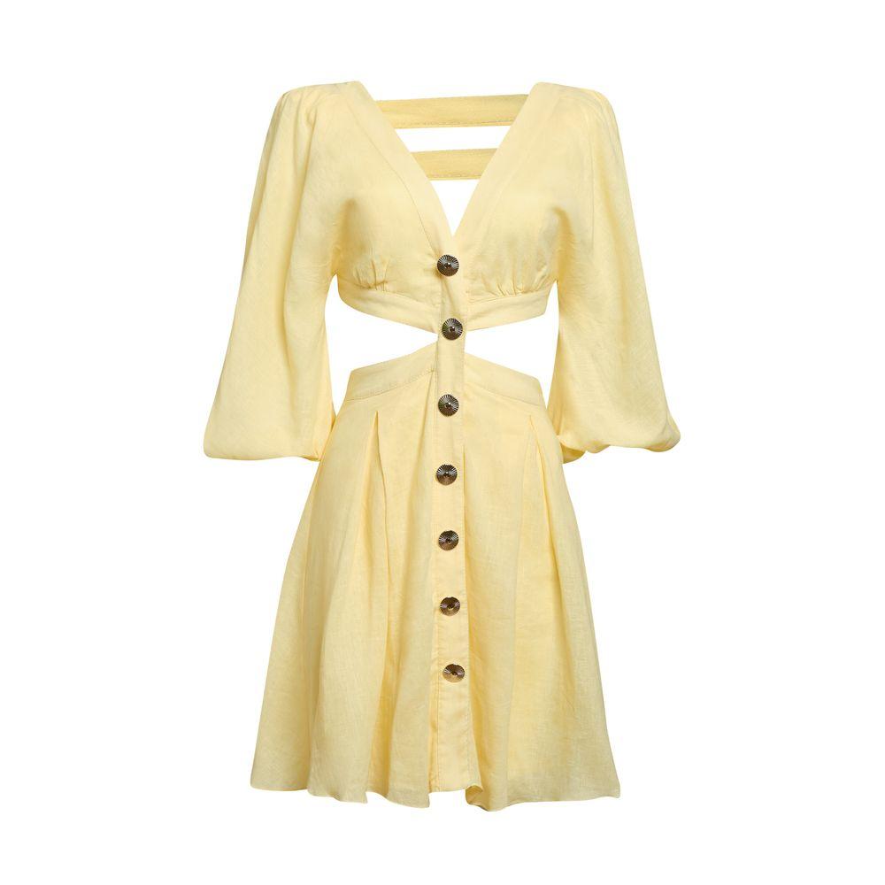 Vestido Recortes Manteiga 34