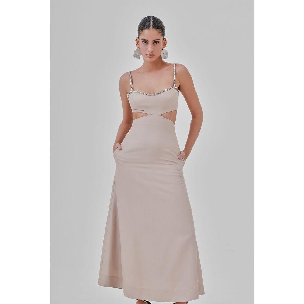 Vestido Strapless Areia 34