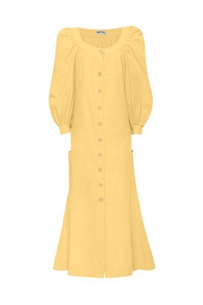 Vestido-Midi-Puff-Manteiga